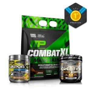 Kit Premium para Aumentar Masa Muscular | Combat XL + Creatina Platinum + Vapor X5 Neuro