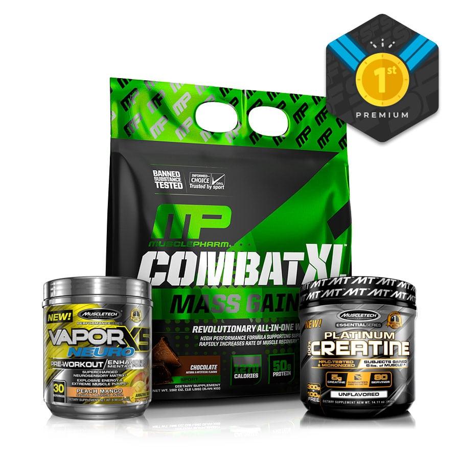 Kit Premium para Aumentar Masa Muscular   Combat XL + Creatina Platinum + Vapor X5 Neuro